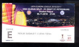 Football  HAJDUK SPLIT Vs FC ZENIT ST: PETERSBURG TICKET 04.11.2010. - Match Tickets