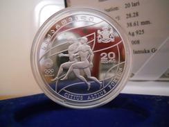 "REPUBLIC OF GEORGIA 20 LARI 2008 SILVER PROOF ""OLYMPIC GAMES BEIJING 2008"" - Georgia"