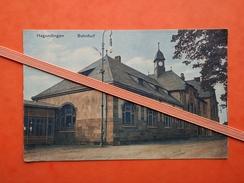 57 Hagendingen Bahnhof 1918, édit: J. P. Kaysen Colonial Waren, Delikatessen, Hagendingen - Hagondange
