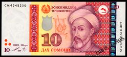 TADJIKISTAN 10 SOMONI 1999(2013) Pick 24 Unc - Tajikistan