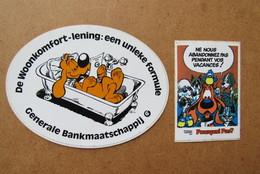 2 Autocollants Roba Bollie En Billie Boule Et Bille Generale Bank Pourquoi Pas? - Books, Magazines, Comics