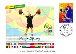 ARGELIA 2016 - FDC Olympic Games Rio 2016 Weightlifting Olympische Gewichtheben Olympics Levantamiento De Pesas