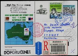 528-SLOVAKIA R-Prepaid Postal Card-with Imprint SYDNEY Olympia Abfahrt Team-departure Of The Team OLYMPHILEX 2000