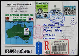 529-SLOVAKIA R-Prepaid Postal Card-with Imprint SYDNEY Olympia Abfahrt Team-departure Of The Team OLYMPHILEX 2000