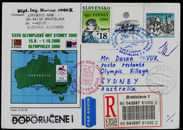 530-SLOVAKIA R-Prepaid Postal Card-with Imprint SYDNEY Olympia Abfahrt Team-departure Of The Team OLYMPHILEX 2000