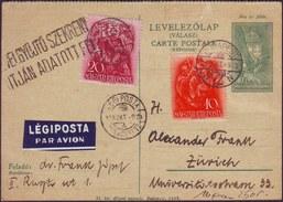 HUNGARY - MAGYARORS. - LEGI POSTA - LEVELEZOLAP VALASZ - To ZURICH - 1938