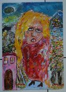 """Art Brut Art Singulier Outsider Art Expressionism Painting """"La Séductrice Ereintée"""" A3 Marjan - Acrilici"""