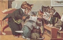 """ARTHUR THIELE - CAT - CHATS HUMANISES - HABILLES - """"VIE SCOLAIRE""""  - édit; T.S. PUPPEN - N° K09 - FORMAT (9 X 14 Cm) -TB - Chats"""