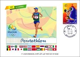 ARGELIA 2016 - FDC Olympic Games Rio 2016 Modern Pentathlon Olympische Olímpicos Olympics Fencing Shooting JO