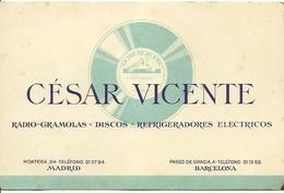 Cesar Vicente Radio Gramolas Discos Refrigeradores Electricos   Barcelona Carte De Visite - Tarjetas De Visita