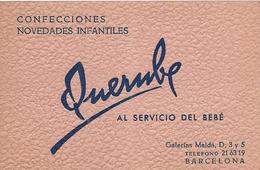 Querube Al Servicio Del Bebe Confecciones Novedades Infantiles   Barcelona Carte De Visite - Tarjetas De Visita