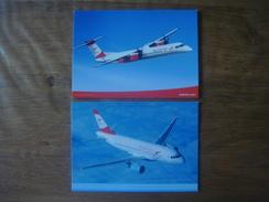 Lot De 2 Cartes : AVION Aviation Vliegtuig Luchtvaart Plane : AUSTRIAN ARROWS LAUDA Bombardier Q400 / Airbus A319 - 1946-....: Moderne