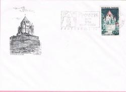 77 - Flamme De PROVINS Sur Enveloppe Illustrée De Provins, Timbre PROVINS + Timbres Marianne De Briat Verso 0.20-0.50-1 - Marcofilie (Brieven)