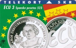 Denmark, TP 004B, ECU-Spain, Mint, Only 3500 Issued, Coins, 2 Scans. - Denmark