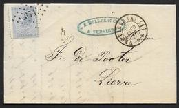 18A Sur Lettre De Verviers à Lierre LP 374 Cachet à Date DC 22 Fevr. 1869 (Nic 409)
