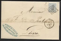 17A Sur Lettre D'Anvers à Lierre LP 12 Cachet à Date DC 14 Juin 1867 (Nic 415)