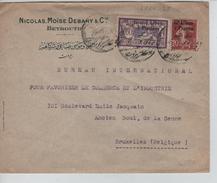 TP 20c&60c Surchargé Gd Liban S/L.de Nicolas Moïse Debahy&Cie Beyrouth 1924 V.Bruxelles Belgique PR3930 - Lettres & Documents