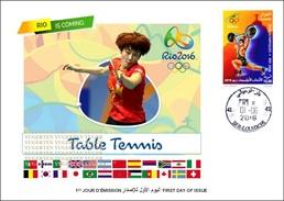 ARGELIA FDC JO Rio 2016  Olympic Olympics Table Tennis De Table Ping Pong JO