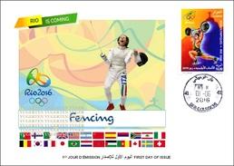 ARGELIA FDC JO Rio 2016 Olympic Olympics Fencing Escrime Fechten Esgrima Scherma Schermen JO