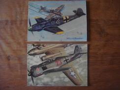 Lot 2 Cartes: AVION Aviation Vliegtuig Luchtvaart Plane : Chasseurs Seconde Guerre Mondiale : MESSERSCHMITT / FOCKE WULF - 1939-1945: 2ème Guerre