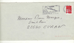 Enveloppe Oblitération LE HAVRE PPAL CC 25/11/2003 - Postmark Collection (Covers)