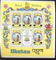 MNH BHUTAN # 472 X 5* SURCHARGE : MINI SHEET ROYAL WEDDING DIANA PRINCE CHARLES - Bhutan