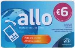GREECE - Allo Card, OTE Prepaid Card 6 Euro, Tirage 15000, 08/16, Used