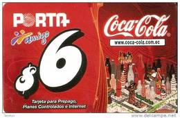 TARJETA DE ECUADOR DE AMIGO PORTA DE 6$   COCA-COLA   (COKE) - Publicidad