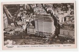 MOROCCO - CASABLANCA - ENTREE DES B.d DE LA GARE ET RUE DE L'HOROLOGE - 1950s ( 617 ) - Casablanca