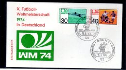 1974 Germany / BRD - Fußballweltmeisterschaft, Deutschland/ Football World Cup In Germany 1974 - FDC  Bonn - Coppa Del Mondo