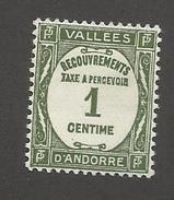 ANDORRE FRANCAIS - TAXE N°YT 16 NEUF* AVEC CHARNIERE - COTE YT : 4.25€ - 1935