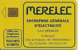 CARTE-PRIVEE-PUBLIC-MONACO-50U-MF21-11/91-MERELEC-ELECTRICITE-UTILISE-TBE