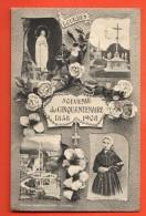 IAK-10  Souvenir Du Cinquantenaire 1858-1908 Lourdes, Vierge Marie. Multivues. Circulé - Lieux Saints