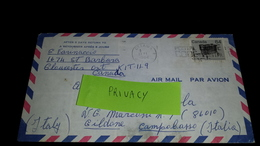 Isolated CANADA 1984 Airmail Letter To Italy Ottawa WOOD STOVE Complete Cover, Used Usato Usado