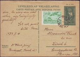 HUNGARY - MAGYARORS. - LEGI POSTA - LEVELEZOLAP VALASZLAPPAL - To ZURICH - 1939