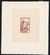 Ivory Coast 1936 Water Bearers. Die Proof In Brown Mounted On Card. Scott Type A9.