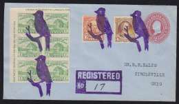 USA 1933 Fancy Cancel - Finch. 4 Strikes In Blueish-violet On Registered Letter From Finch, MT. - Autres