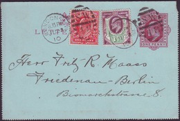 UK - LONDON SW 48 - LETTER CARD + 1p+ 1,5p - To BERLIN - 1910