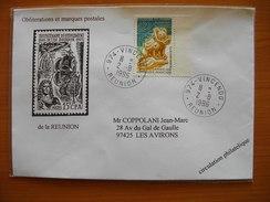 Réunion : Lettre De 1996 Avec Cachet Manuel Du Petit Bureau De Vincendo