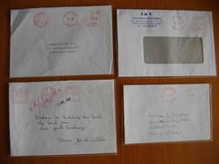 Réunion : Quatre Lettres Avec  Empreintes De Machines à Affranchir (1985 à 1999)