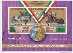 72103 Guinea Equatorial 1972 XX  Olimpiadi Monaco Munich Piero E Raimondo D ´ Inzeo Vincitori ORO E Argento Equitazione - Estate 1972: Monaco