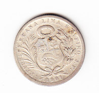 PEROU KM 205.2, VF, SILVER, 5ol, 1901 . (5BP57) - Pérou