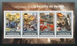 TOGO 2016 ** WWI Battle Of Verdun Schlacht Bei Verdun Bataille De Verdun M/S - IMPERFORATED - A1706