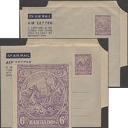 Barbade 1935. Deux Aérogrammes Avec Curiosité D'impression. Blason, Chevaux, Eau, Virgile, Latin - Languages