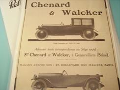 PUBLICITE VOITURE CHANARD WALCKER TORPEDO - Cars