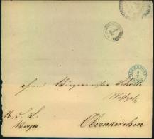 1856, Faltbriefhülle Mit Blauem K2 OLDENDORF Nach Obernkirchen, Rückseitig BÜCKEBURG-BAHNHOF