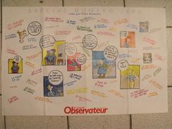 Affiche Poster Le Nouvel Observateur Spécial N° 2000 De 2003. Couvertures Des Anciens Numéros + Brétécher - Manifesti