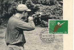 D28917 CARTE MAXIMUM CARD 1960 SAN MARINO - OLYMPICS SHOOTING - IMPERFORATED STAMP CP ORIGINAL
