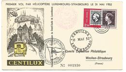 LUXEMBOURG 1 ER VOL PAR HELICOPTERE LUXEMBOURG-STRASBOURG DU 31/5/1952