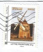 Timbre Personnalisé Collector Oblitéré Sur Lettre Moulin à Vent Congrès FFAM 2014 Draguignan